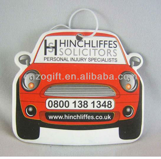 promotion car fresheners, scented paper card, advertising car paper freshener card