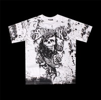 Футболка 10pcs/lot MMA Silver Star Smog Skeleton short sleeve t shirt 100% cotton High quality