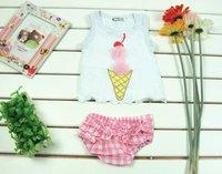 Комплект одежды для девочек Sweet baby suit: Vest with ice-cream+ pink underpants/ New design