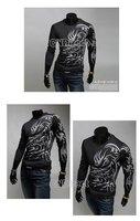 Мужская футболка fashion men's Korean Textile Printing cotton Slim Fit Round Collar Long Sleeve T-shirt L, XL, XXL 7556