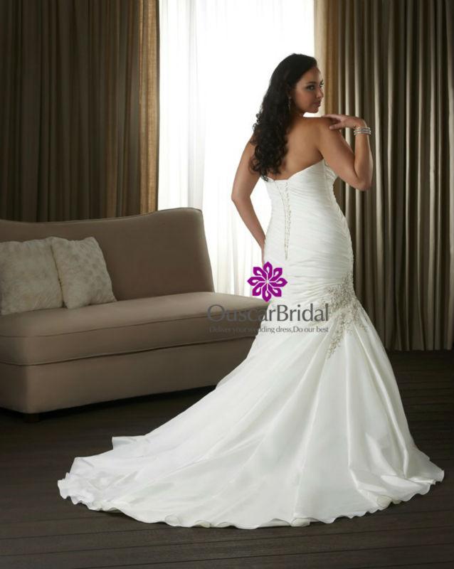 Satin Fishtail Wedding Dress : Fk silver satin fishtail plus size wedding dress