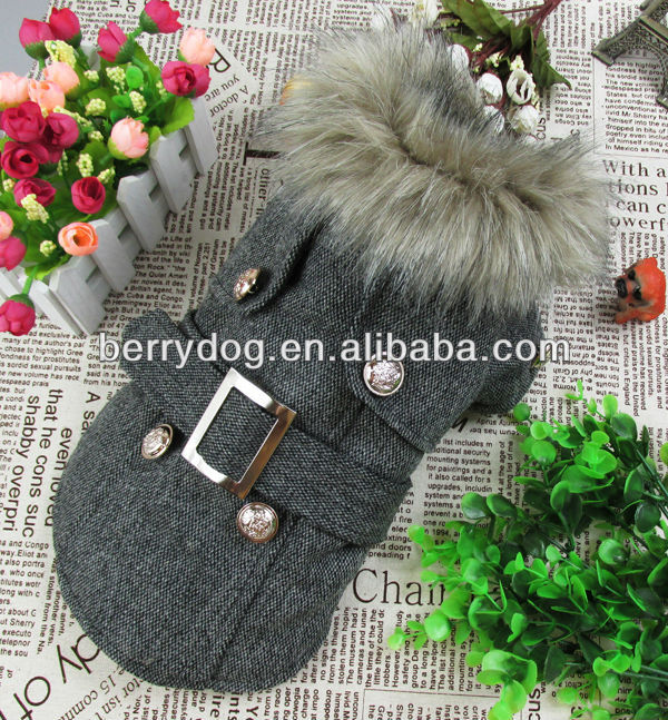 5Sizes Warm Cotton European Style Woolen Quilted Pet Coat In Stocks