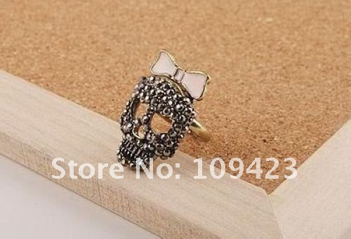 Original jewelry Rock Exaggerated Skull Diamond Bow Ring Bow Skull Rings Female Jewelry Free Shipping 6pcs/lot LTSB-2211