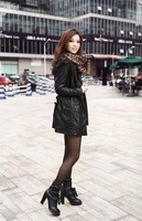 Женская одежда из кожи и замши Nice quality 2013 autumn&winter black leather coat for woman, casual leather trench coat /windbreaker, size M, L, XL