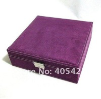 FG121  2013 new europe princess faux suede casket jewelry packaging large' size two tier storage box hotsale freeshipping