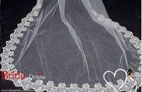 1 слой собор длина свадьбы вуаль 300 см Длина вышивка тюль свадьбы вуаль белая слоновая кость в наличии