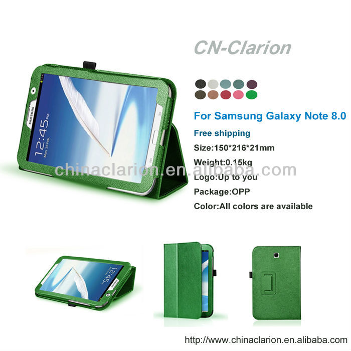Green standing leather case for samsung galaxy note 8.0 n5100 n5110 factory sales