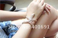 Ювелирное изделие New Punk Cool Fashion Starfish Stelleroid Glitter Curved Cuff Bangle 6 Pcs/lot