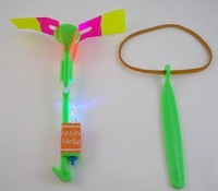 free shipping LED Magic Toy Rubber Band Helicopter Flash Arrows Flying Umbrella Flash Mushrooms