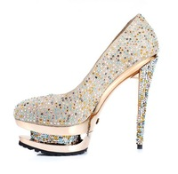 Туфли на высоком каблуке diamond crystal shoe leather waterproof sets with high nightclub bride wedding shoe shoe