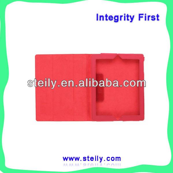 Fashiondull polish PU three folding leather case for iPad 4 leather case