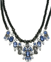 Колье-цепь 2013 blue Luxury shourouk pendant necklace Choker Rhinestones & resin bib chunky flower Chain Fashion Necklaces & pendant women