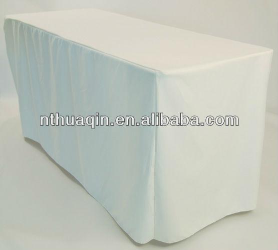 흰색 폴리 에스테르 식탁보 직사각형 테이블 커버 주름 폴리 ...