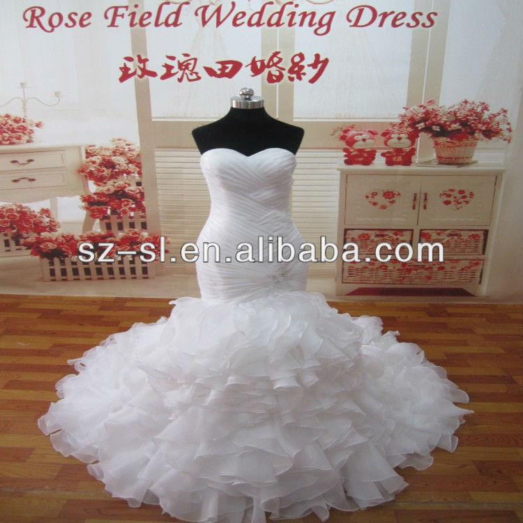2015 Real Sample Mermaid Pleat Organzan Ruffles Wedding Dress---MG403