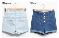 Женские джинсы 2012 New Lady denim shorts, women's jeans shorts, hot sale ladies' Empire waist denim short pants