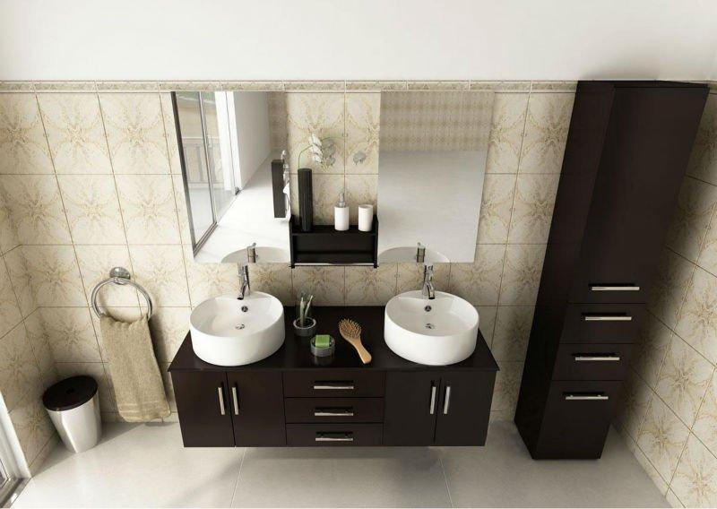 Lavabos Dobles Para Baño:doble lavabo vanidad cuarto de baño con dos espejos 477-Cuarto de