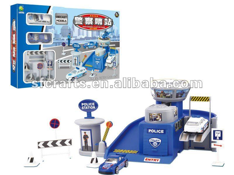 parking lot w/2 die cast cars,die cast car parking toy, Diecast Car Parking Lot Toy