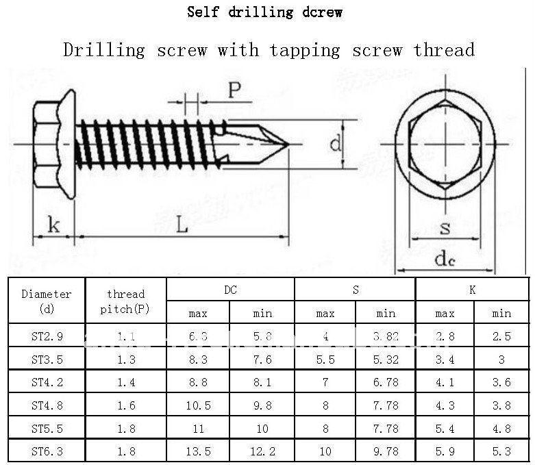 Flat Head Self Drilling Screws Csk Screw / Flat Head Self