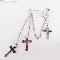 1pcs Silver Cross Sign Ear Cuff Clip Chain Connect Earring Studs Pin Dangle Gift[000205]