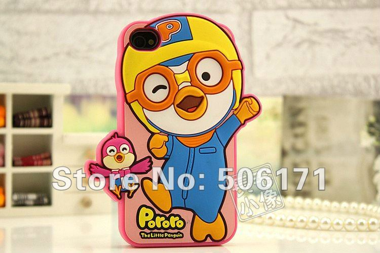 freeshiping  20pcs Fabulous pororo 3D shell cute cartoon skin ora harry case for iPhone 4g 4s 4 silicone case retail package
