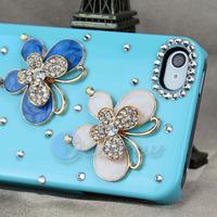 Чехол для для мобильных телефонов New Fashion Blue 3D Lovely Bling Jewelry Two Metal Butterfly Hard Case Cover For iPhone 4 4S