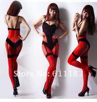 США selebritee gallus черный и красный Тедди открыть вилка чулки шелковые трусики сексуальные пижамы stc110 быстрой доставки
