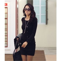 Женский комбинезон Korea Women Sexy Round Crew Neck Long Sleeve Casual Mini Dress 2 Colors