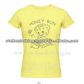 100% cotton Printed Ladies T-shirt - Honey - Yellow