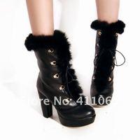 Hot Sale 2012 Fashion Winter Boots For Women Rabbit Hair +Rhinestone Lace up Warm Boots 1203NTZSS