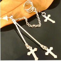 Серьги-клипсы 1pcs Silver Cross Sign Ear Cuff Clip Chain Connect Earring Studs Pin Dangle Gift[000205