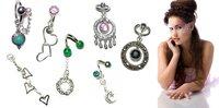 12ps/lot Aqua Gem Fancy Butterfly Belly Button Ring 316L steel navel body jewelry