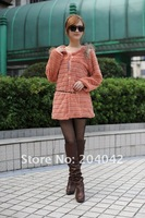 NEW 2012 FREE SHIPPING AUTUMN FAUX FUR WAVE LONG SLEEVE LINT CLLORLESS SHORT JACKET Q121012-7