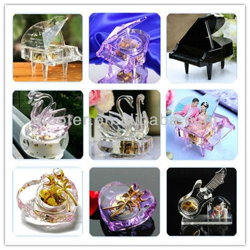 Promotio<em></em>nal Glass Cheap Music Box For Wedding Favor