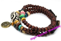 Браслет из бусин M0334 handmade wooden beads wrap bracelets with alloy charms, fashion wristband classic jewelry 20pcs/lot