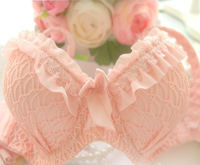 Free shipping 2014 new arrival, candy-colored lace push up sexy bra set, white, blue, pink brassiere & bra brief sets11