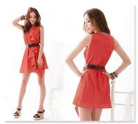 2012 NEW, romantic fashion unique ruffles design SEXY sleeveless chiffon ladies dress (BELT FOR LIMITED QUANTITY)