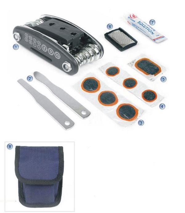 Multi-function bicycle tyre repair kit