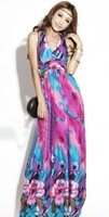 Женское платье Fashion Bohemia Printed flower Halter V neck women Beach Summer Long Dress Maxi Dresses