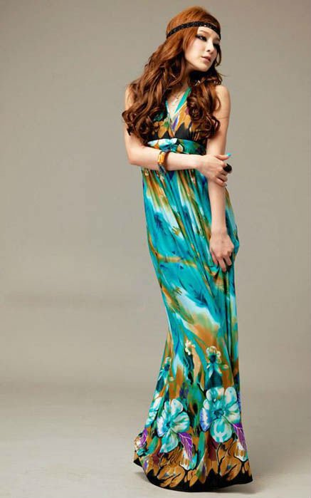 Free Shipping 3 colors Fashion women Bohemia Printed Halter Beach Summer Long Dress Maxi Dresses 8988