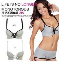 2012 Fashion Women Y-type sports charcoal vest push up bra set women's deep V-neck sexy bra and panties