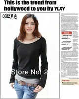 Женская футболка 2013 spring, autumn and winter new large size fashion bottoming shirt cotton long-sleeved T-shirt women tops clothing