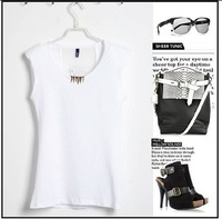Футболка shoulder pads sleeveless metal claws decorated women's T-shirt/ vest/ European style