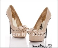 Туфли на высоком каблуке size 35-39 Women's rivets Shoes.Fashion bownot platform 11cm heel Shoes.Pumps Heels shoes hh1040