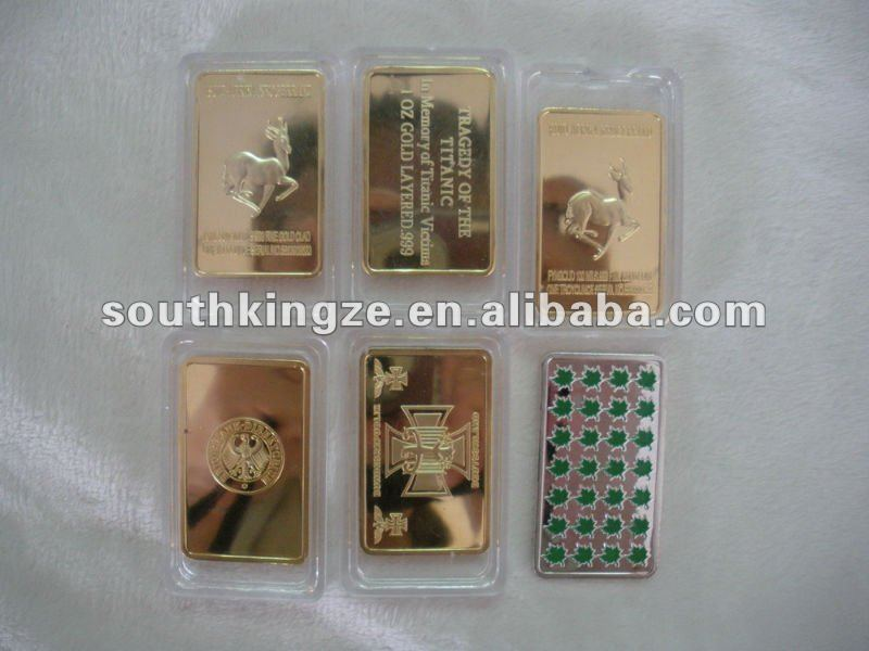 free shipping hot sale 2008 Gold plated South Africa Krugerrand Bullion bar wholesale 5pcs/lot