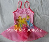 Купальный костюм для девочек 2012 branded baby girls one pieces princess swimsuit/ ballet dress chiffon skirt cover-ups girl cartoon swimming wear