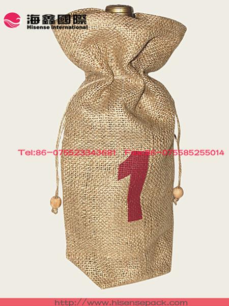 wine bottle carrier jute/burlap holiday gift wine bag