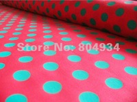 Ткань Ship BIO-05 red green big dot Cotton woven Fabric Textile