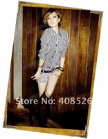 Женская одежда New Sexy Fashion Ladies' Shirt Black White Vertical Stripe Long Sleeve Shirt Blouse Tops 5877