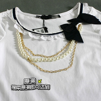 [yuansu brand]new arrival high quality round neck cotton women elastic lycra t-shirt  short-sleeve tee decorative neacklace