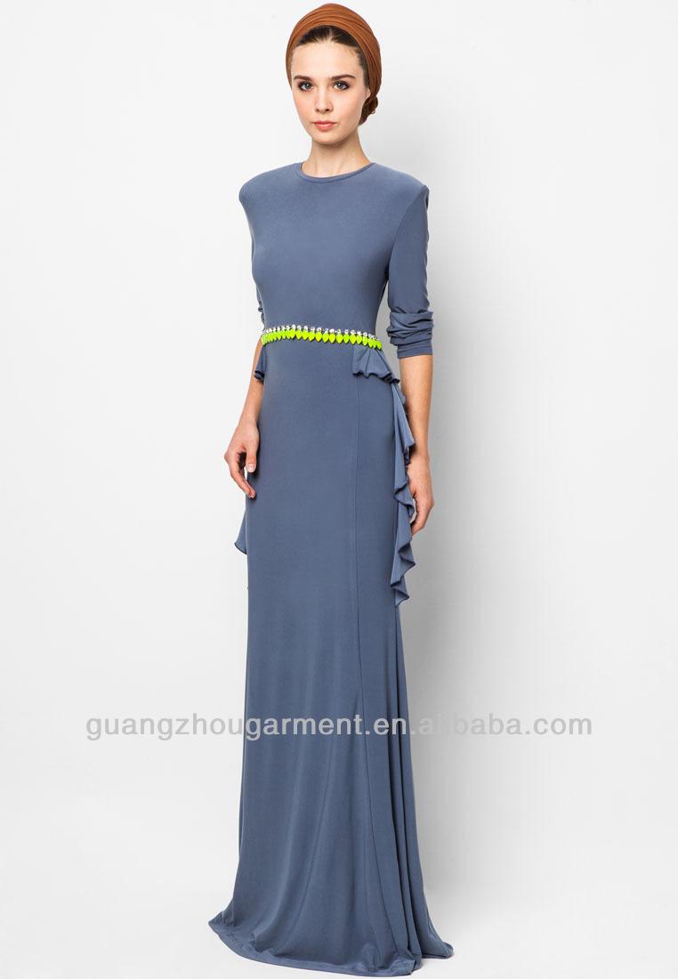 maxi muslimah dress ruffled beaded waist view plus size maxi muslimah